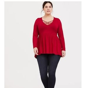 Torrid Red strappy babydoll top